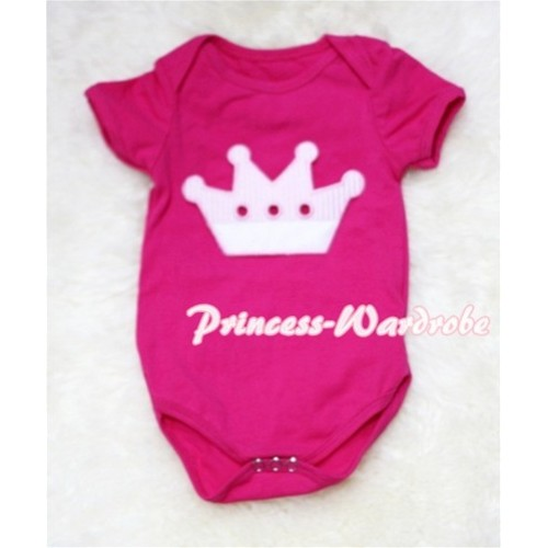 Hot Pink Baby Jumpsuit with Crown Print TH37
