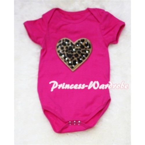 Hot Pink Baby Jumpsuit with Leopard Heart Print TH38