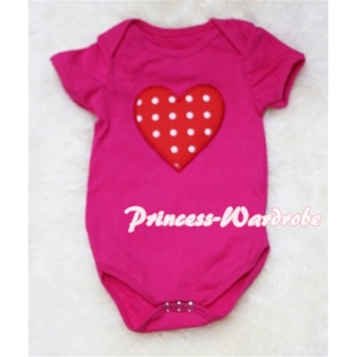 Hot Pink Baby Jumpsuit with Red White Polka Dots Heart Print TH40
