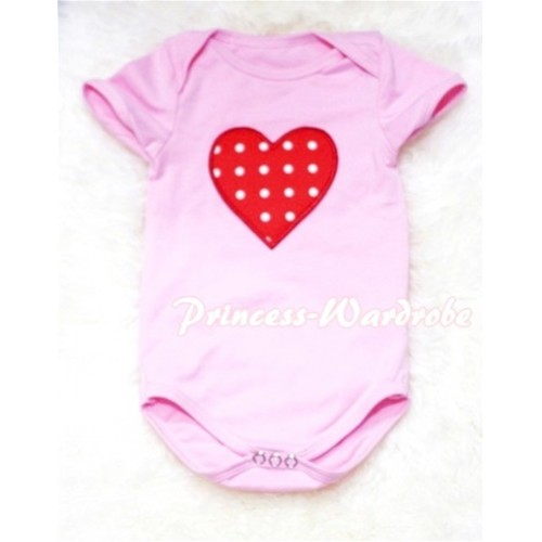 Light Pink Baby Jumpsuit with Red White Polka Dots Heart Print TH55