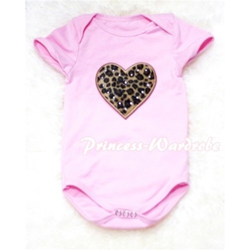 Light Pink Baby Jumpsuit with Leopard Heart Print TH57