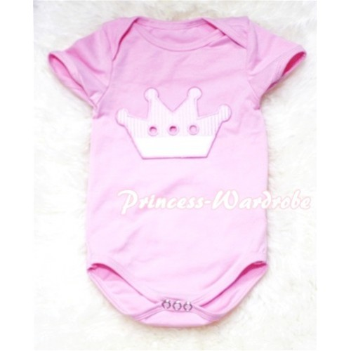 Light Pink Baby Jumpsuit with Crown Print TH60