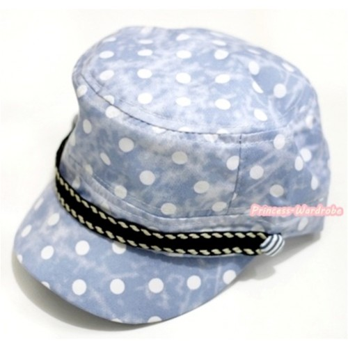 Light Blue White Polka Dots Military Cap H605