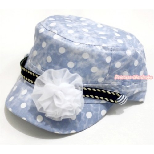 Light Blue White Polka Dots Military Cap With White Rosettes H607