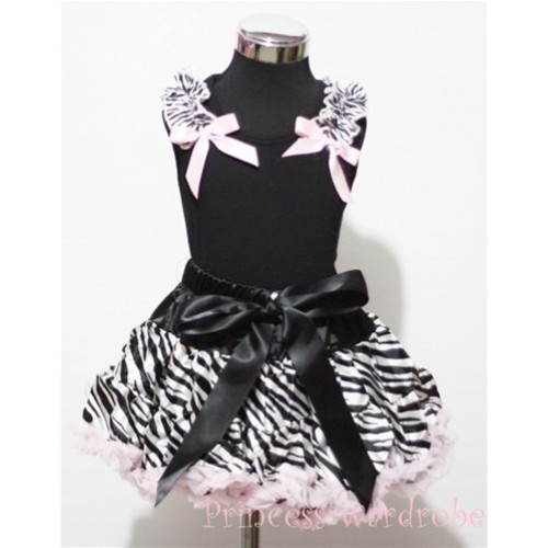 Black Pettitop with Zebra Ruffles Light Pink Bow with Light Pink Zebra Pettiskirt MW07