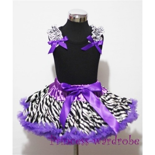 Black Pettitop with Zebra Ruffles Dark Purple Bow with Dark Purple Zebra Pettiskirt MW08