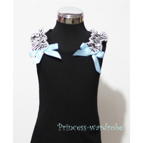 Black Baby Pettitop & Zebra Ruffles &  Light Blue Bow TB43-1