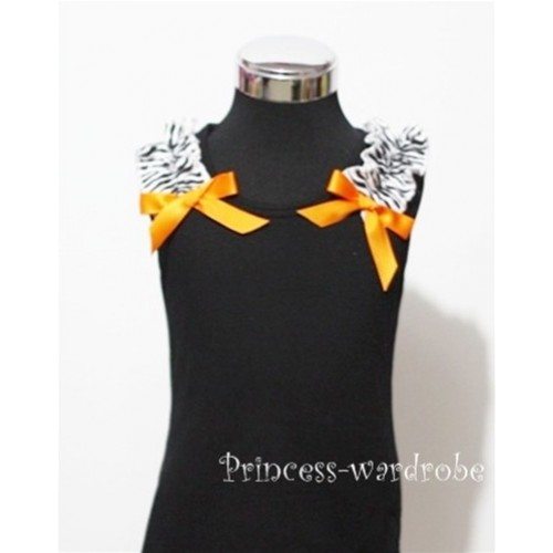 Black Baby Pettitop & Zebra Ruffles & Orange Bow TB45-1