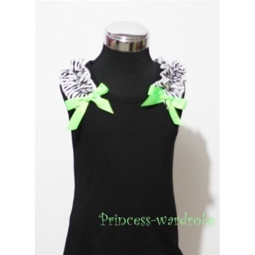 Black Baby Pettitop & Zebra Ruffles & Dark Green Bow TB46-1