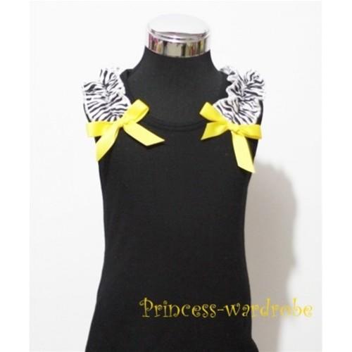 Black Baby Pettitop & Zebra Ruffles & Yellow Bow TB47-1