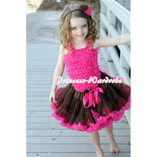 Brown Hot Pink Pettiskirt with Hot Pink Ruffles Tank Top MR127