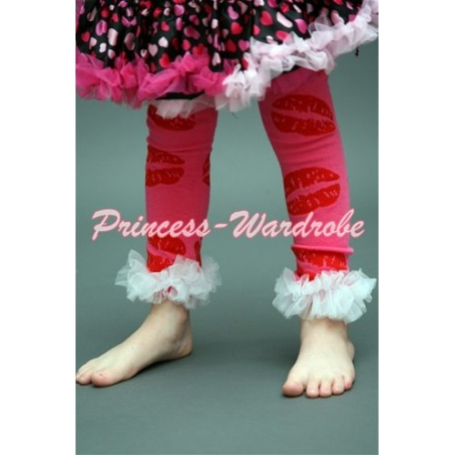 Newborn Baby Red Lips Leg Warmers Leggings with Ruffles LG118