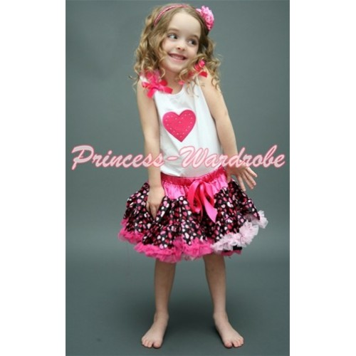 Hot Pink Sweet Heart Print White Tank Top With Hot Pink Ruffles & Hot Pink Bow with Hot Light Pink Heart Pettiskirt MM130