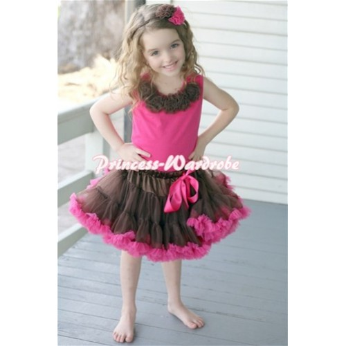 Brown Hot Pink Pettiskirt with Brown Rosettes Hot Pink Tank Top MH34