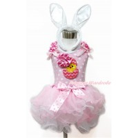 Easter Light Pink White Dots Tank Top With Hot Pink White Dots Ruffles & Light Pink Bow & 3D Hot Pink White Dots Rose Chick Egg With Light Hot Pink Dots Bow Hot Pink White Polka Dots Waist Light Pink White Petal Pettiskirt With White Rabbit Headband MH187