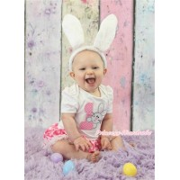 Easter White Baby Jumpsuit Hot Pink White Dots Pettiskirt With 1st Light Pink White Dots Birthday Number & Bunny Rabbit Print With Rabbit Headband JS3203