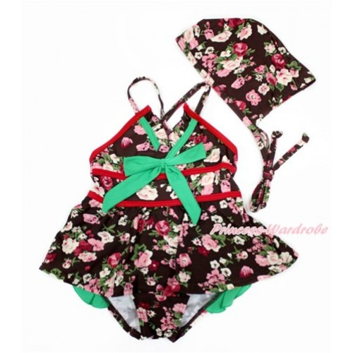Kelly Green Bow with Black Rose Fusion Swimming Suit with Swim Cap SW74
