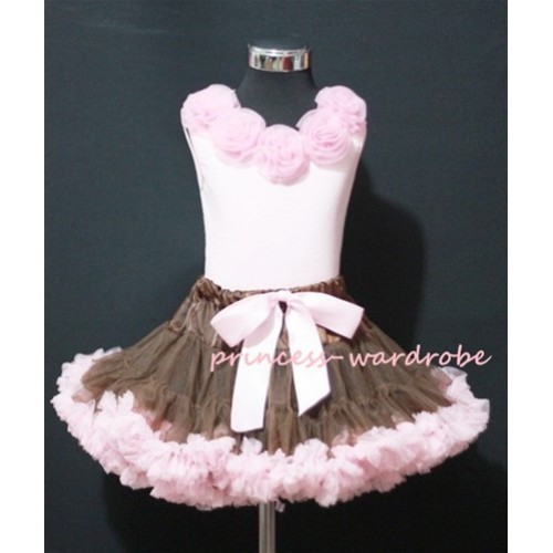 Brown and Light Pink Pettiskirt with Matching Light Pink Rosettes Pink Tank Tops MP01