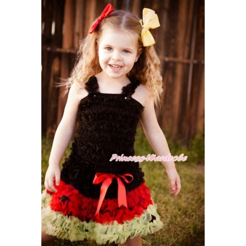 World Cup Black Ruffles Tank Top with Germany Black Red Yellow Ruffles Pettiskirt MR255