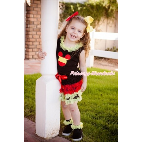 World Cup Black Tank Top With Yellow Chiffon Lacing & Spain Minnie Print With Germany Black Red Yellow Ruffles Pettiskirt MG1115