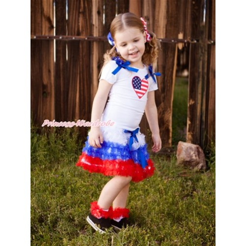 World Cup White Short Sleeves Top With Patriotic American Stars Ruffles & Royal Blue Bow & Patriotic American Heart Print With America White Royal Blue Red Ruffles Pettiskirt SC84