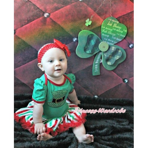 Kelly Green Baby Jumpsuit Red White Green Striped Pettiskirt With Sparkle Kelly Green Hat Print With Red Headband Red Silk Bow JS3206
