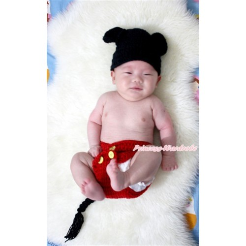 Mickey Mouse Photo Prop Crochet Newborn Baby 2PC Set Custome C149