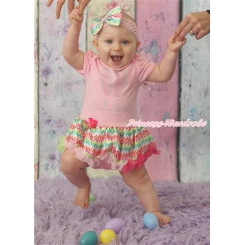 Easter Light Pink Baby Bodysuit Jumpsuit Rainbow Wave Pettiskirt With Sparkle Crystal Bling Rhinestone Bunny Rabbit Print With Light Pink Headband Rainbow Wave Satin Bow JS3187