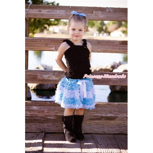 World Cup Black Ruffles Tank Top with Argentina Light Blue White Ruffles Pettiskirt MR256