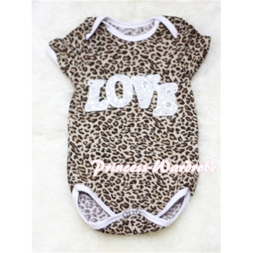 Leopard Print Baby Jumpsuit with Sparkle Love Print TH16