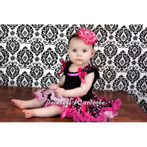 Black Baby Pettitop & Hot Pink Heart Ruffles & Hot Pink Bow with Hot Pink Heart Baby Pettiskirt NG330