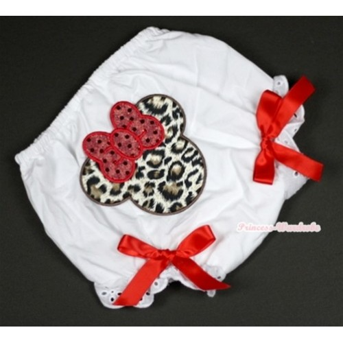 White Bloomer With Leopard Minnie Print & Red Bow BL100