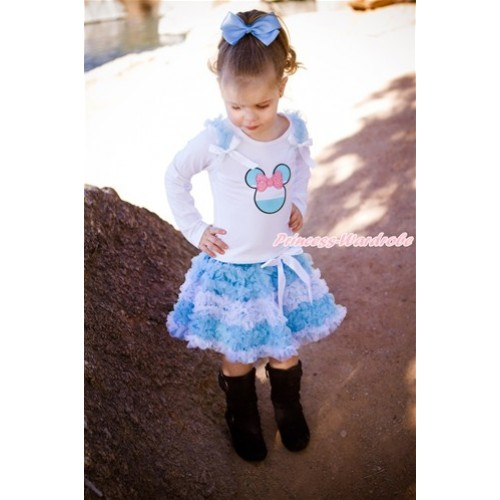 World Cup White Long Sleeve Top with Light Blue Ruffles & White Bow & Sparkle Light Pink Argentina Minnie Print with Matching Argentina Light Blue White Ruffles Pettiskirt MW467