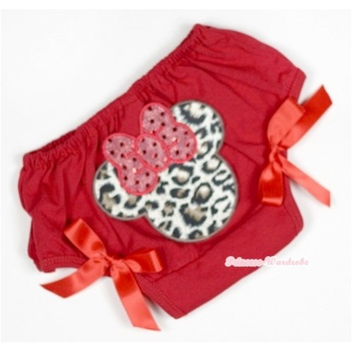 Red Bloomer With Leopard Minnie Print & Red Bow BL111