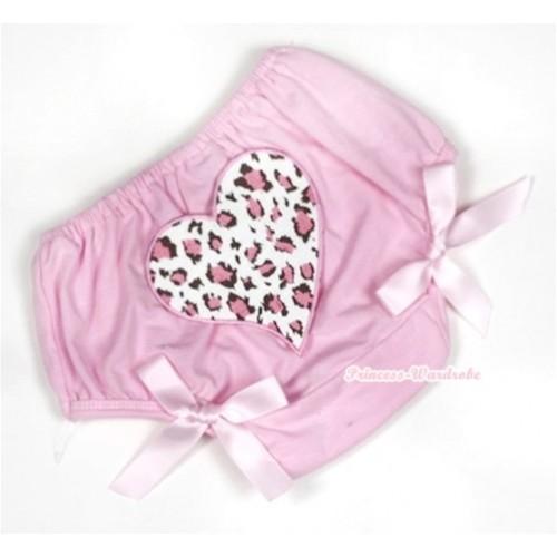 Light Pink Bloomer With Light Pink Leopard Heart Print & Light Pink Bow BL115