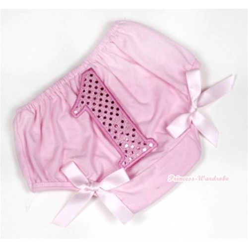Light Pink Bloomer With 1st Sparkle Light Pink Birthday Number Print & Light Pink Bow BL118