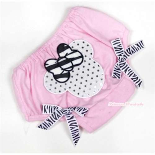 Light Pink Bloomer With Sparkle White Minnie Print & Zebra Bow BL119