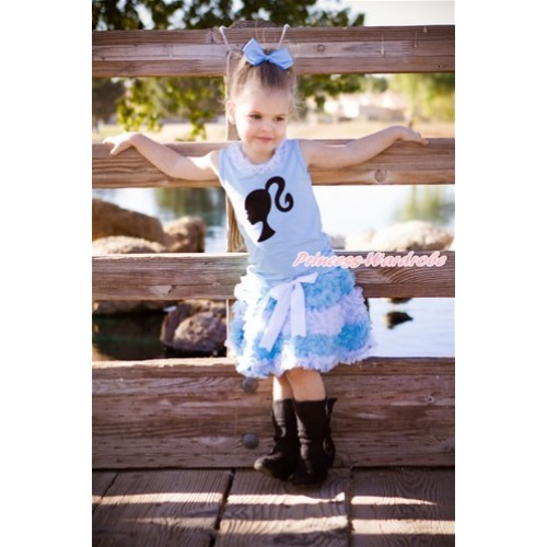 World Cup Light Blue Tank Top With White Chiffon Lacing & Barbie Princess Print With Argentina Light Blue White Ruffles Pettiskirt MH191