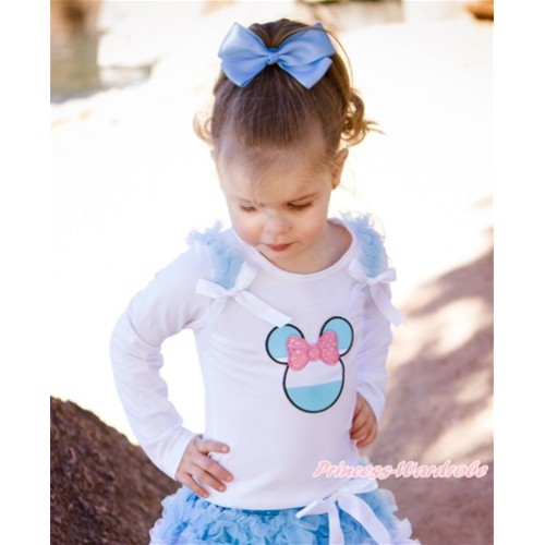 World Cup White Long Sleeves Top With Light Blue Ruffles & White Bow with Sparkle Light Pink Argentina Minnie Print TW453