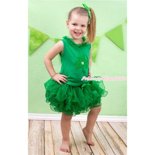 St Patrick's Day Kelly Green Tank Top With Kelly Green Chiffon Lacing & Clover Print With Kelly Green Bow Kelly Green Petal Pettiskirt MH192