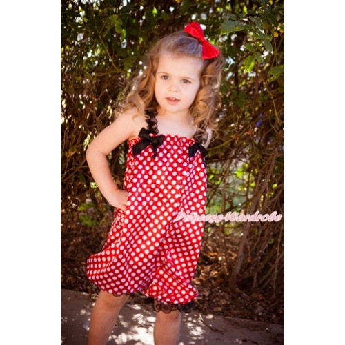 Minnie Dots Loose Pant Romper with Black Bow & Black Lace Straps LR179