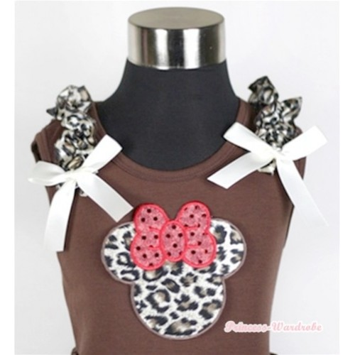 Brown Tank Top With Leopard Ruffles & Cream White Bows & Leopard Minne TM218