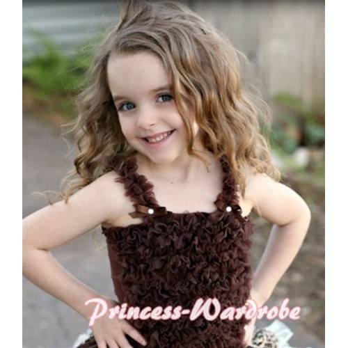 Brown Ruffles Tank Tops R11