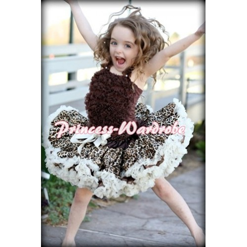 Cream White Leopard Pettiskirt with Matching Brown Ruffles Tank Top MR123