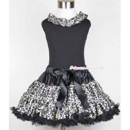 Black Tank Top with Black Leopard Satin Lacing with Black Leopard Pettiskirt MG19