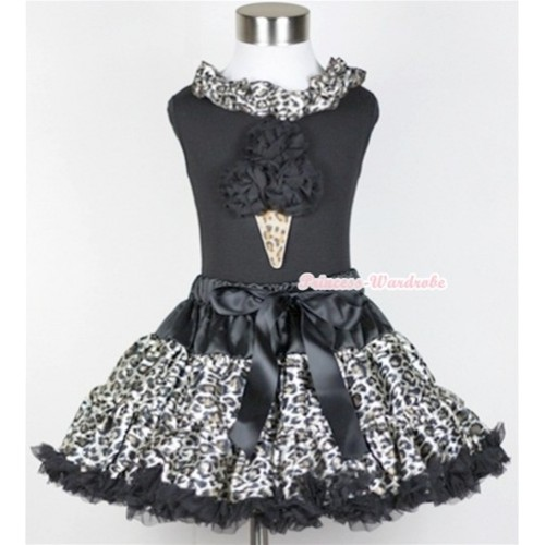 Black Tank Top With Black Leopard Satin Lacing With Black Rosettes Leopard Ice Cream Print with Black Leopard Pettiskirt MW216
