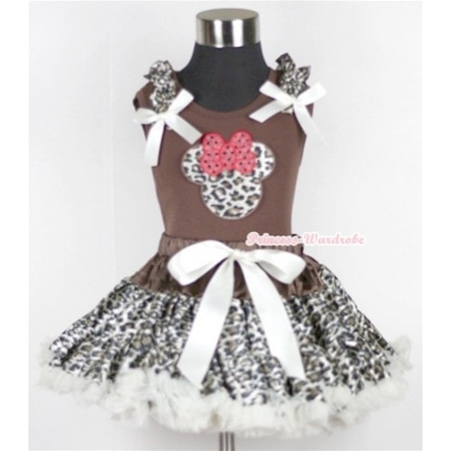 Brown Tank Top with Leopard Minnie Print with Leopard Ruffles & Cream White Bow & Cream White Leopard Pettiskirt MG563