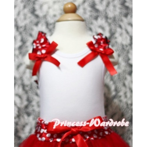 Minnie Dot Ruffles Red Bow White Tank Top T341