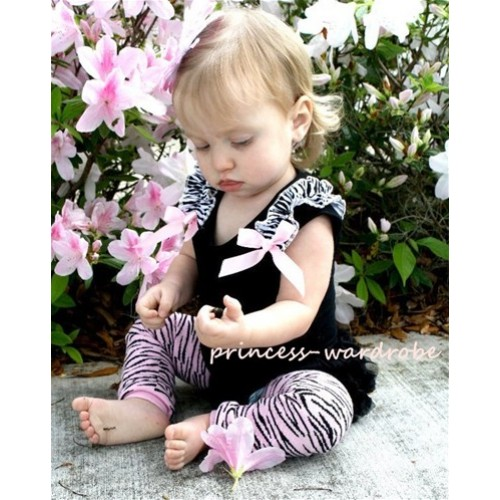 Black Baby Pettitop & Zebra Ruffles &  Light Pink Bow TB41-1