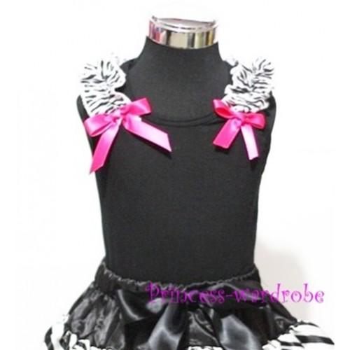 Black Baby Pettitop & Zebra Ruffles & Hot Pink Bow TB40-1